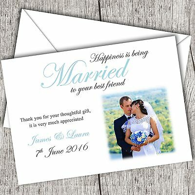 Photo WEDDING Thank You Cards • Personalised • Fast Post (Happiness...)