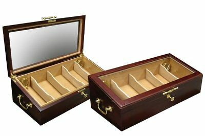 The Modena Cigar Humidor 125 Count Cherry Countertop Glass Top Display Case