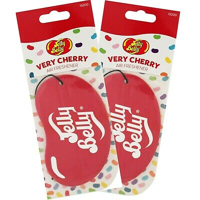 2 x JELLY BELLY 2D BEAN SWEETS SCENT CAR AIR FRESHENER FRESHNER - VERY CHERRY