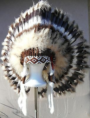 "Genuine Native American Navajo Indian Headdress 36"" diameter ""DESERT BROWN"""