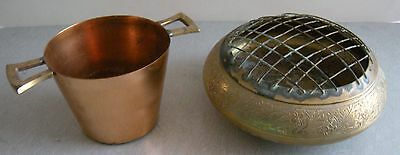 TWO Vintage Metal Collectible: BRASS Flower Holder (2 pieces) & COPPER Cup mold