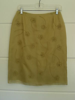 Womens Casual Corner Silk  Embroidered Beaded Pencil Skirt Size 6 Gold Color