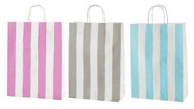 MEDIUM STRIPED TWISTED HANDLE KRAFT PAPER CARRIER BAGS SIZE 25x11x31cms