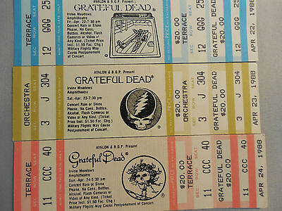 3 UNUSED GRATEFUL DEAD CONCERT TICKETS IRVINE, CA 1988 !!!