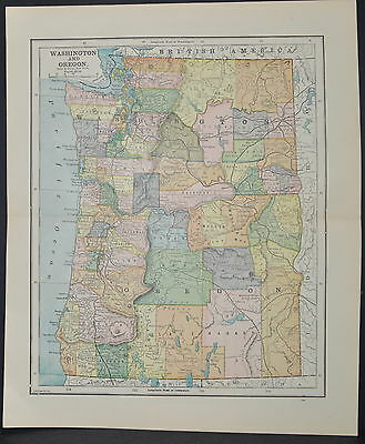 Antique Color map of Washington and Oregon Circa 1895. Nice detail
