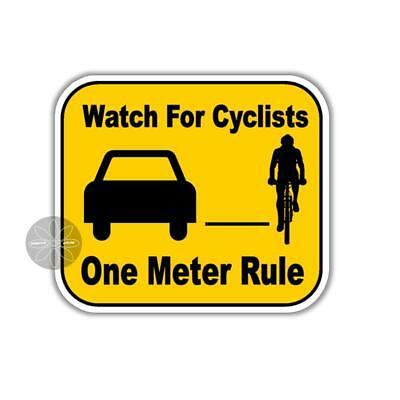 Bike Safety car bumper sticker Watch For Cyclists One Meter Rule 100 mm decal