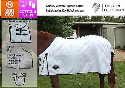 Cotton Horse Rug Regular Neck Ripstop Al Year Round Sheet Satin Lined 4'9 to 6'9