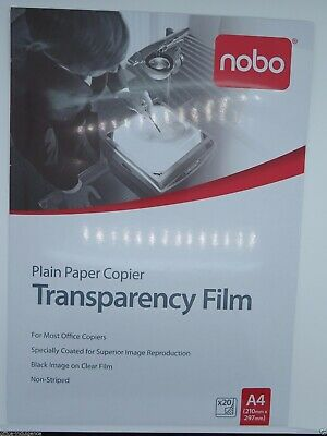 Nobo PP100C OHP Plain Paper Copier Transparency Film 20/Pack PP100C20 BRAND NEW