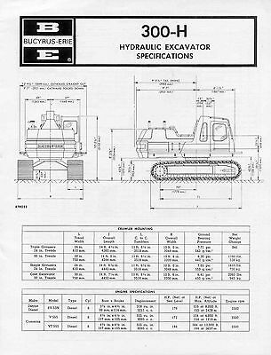 Bucyrus Erie 300-H Hydraulic Excavator Specifications component weights