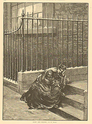 Mother, And Child, Homeless In Winter Snow, Vintage, 1872 Antique Art, Print.