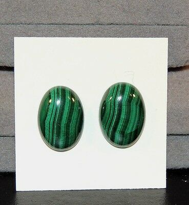 Malachite 13x18mm Cabochons Set of 2 from Africa (7457)