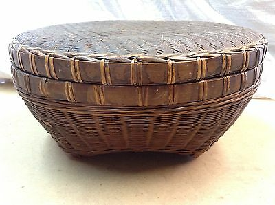 Vintage African Woven Wood Basket With Lid