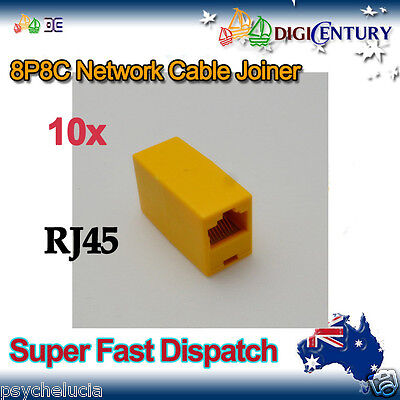 10x Yellow RJ45 8P8C Network Cable Joiner Plug Coupler Connector Adapters
