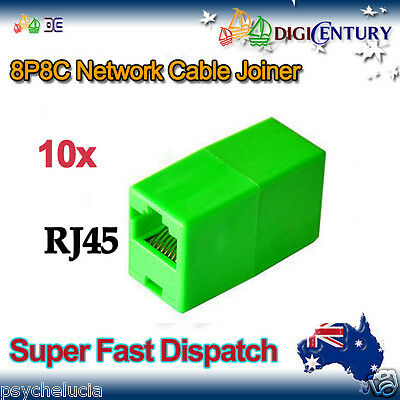 10x Green RJ45 8P8C Network Cable Joiner Plug Coupler Connector Adapters