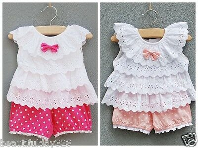 ❤Lovely Baby Girl Ruffle Top And Spotty Short Sets 3 to 24 months Birthday Party