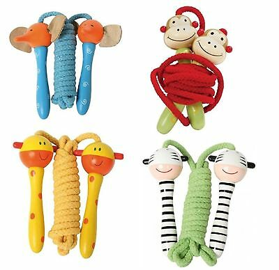 Kids Children's Ainmal Wooden Handled Jumping Rope Skipping Rope Outdoor Indoor