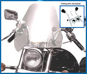 Airblade Motorcycle Universal Clear Custom Cruiser Screen,chrome Brackets