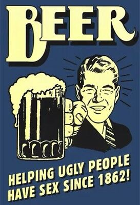 """Beer Helping Ugly People Humour poster   MAXI SIZE 24""""X36"""""""