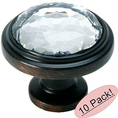 *10 Pack* Cosmas 5317ORB-C Oil Rubbed Bronze & Clear Glass Round Cabinet Knob