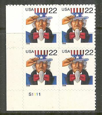 US #3259, 1998 22c Uncle Sam, PB4 Unused NH