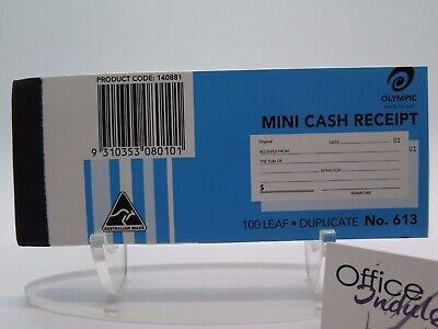 Olympic #613 Mini Cash Receipt Book 50x125mm Carbon Duplicate 100 Leaf 140881.