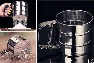 L Mechanical Flour Sugar Icing Mesh Sifter Shaker Baking Kitchen Tool Stainless
