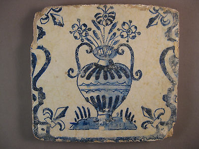 Antique Dutch Delft Tile Flower Baluster Tile rare 17th century -- free shipping