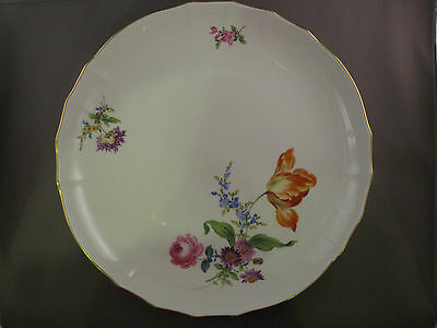 Antique cake plate Colorful flower Meissen Porcelain Germany rare- free shipping