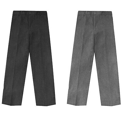 Boys Kids School Uniform Trouser Adjustable  Half Elasticated Waist Formal Pants
