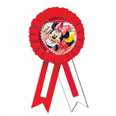 Amscan Birthday MINNIE MOUSE Girl Fabric Confetti Rosette Award Ribbon Badge 5cm