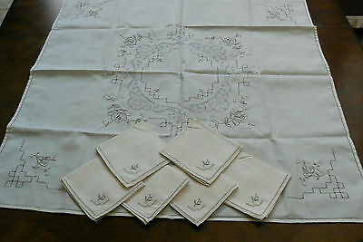 VTG Madeira Linen Embroidery Lace Decor Accent Table Cloth 33x33 & 6 napkins set