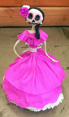 Mexican Catrina  paper mache  Day Of The Dead Hot Pink Dress