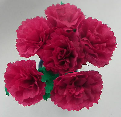 Burgundy Mexican Crepe Paper Flowers Bouquet of 6 / Crafts/ Party By Julia