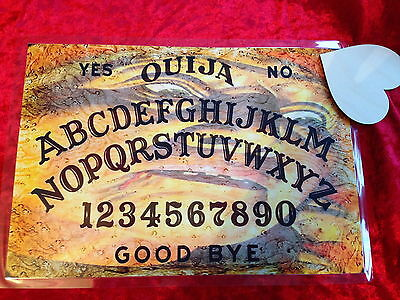 Seance Magick Old Lady Ouija Board laminated sheet + Planchette Fortune Weeja