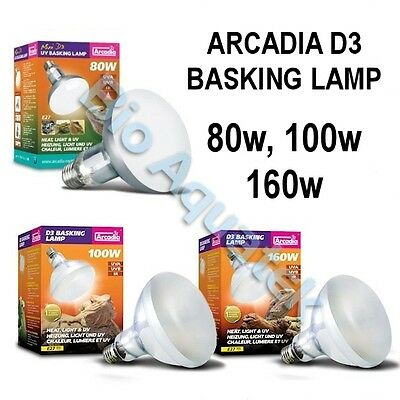 Arcadia D3 UV E27 Reptile Basking Heat Light Lamp Bulb Infrared 80w 100w 160w