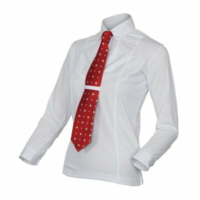 Shires Equestrian Ladies Long Sleeve Tie Shirt White - Show, Competition, Riding
