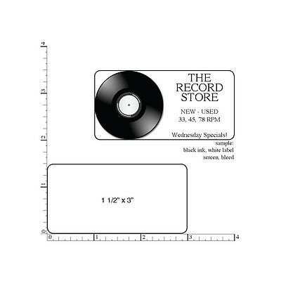 "250 Printed Labels, 1-1/2"" x 3"" Custom Rectangle Business Stickers, 1-Color Ink"