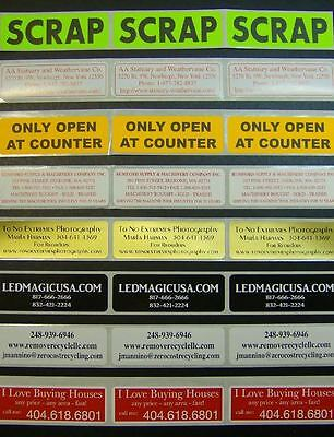 """250 Printed Stickers 1"""" x 3"""" Rectangle Custom Labels Business, 1-Color on roll"""