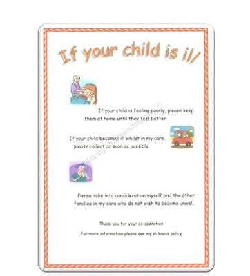 """Childminder Eyfs """"if Your Child Is Ill"""" A4 Poster Childminding Readymade"""