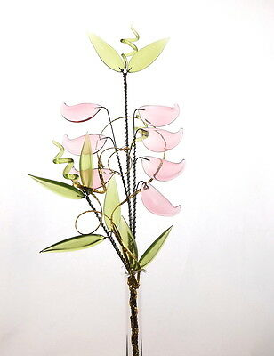 Pink Green Glass Flower Ornament Decoration For Home Office Hotel Any Room New
