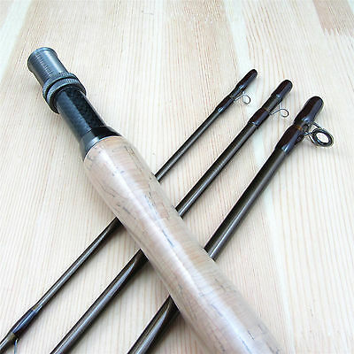 4 Pieces 3/4 Carbon Fly Fishing Rod Light Feel Medium Fast Auction 2.7M 9FT