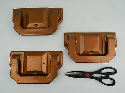 Vtg Set 3 Industrial Metal Copper Tone Handles Pulls Casket Coffin Funeral Diy