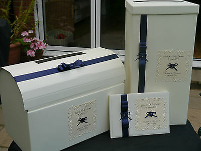 Wedding card post box & guest book, ribbon, daisy flower, navy & other colours
