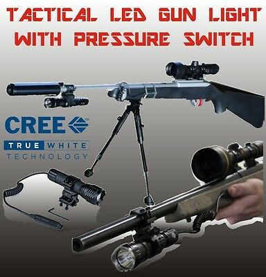 Cree LED Gun Flash Light Remote Pressure Switch Mount Rechargeable hunting torch