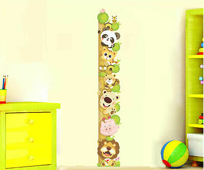 Large Safari Jungle Animals Height Chart Wall Stickers Decal Removable Kids Art