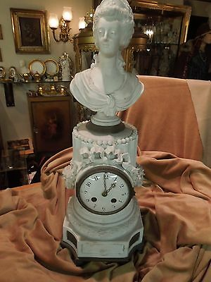 REDUCED Circa 1875 French Porcelain Parian Figural Clock FOR RESTORATION