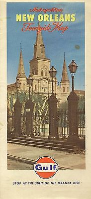 1966 GULF OIL Saint Louis Cathedral Road Map NEW ORLEANS Louisiana Kenner Gretna