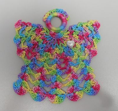 Hand Dyed Thread Crocheted Lacy Beaded Angel Doilies Doily Angels w Pearl Heart