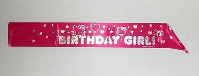 NEW HELLO KITTY by Sanrio Birthday Girl Sash Hot Pink and Silver