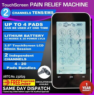 Touch Screen 3.5'' LCD Dual Channel Tens Machine Pain Relief Massager Physio